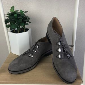 Gray suede loafers